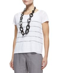 Eileen Fisher - Capsleeve Striped Top - Lyst
