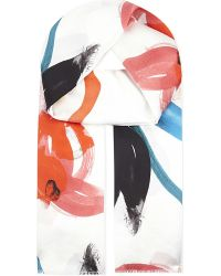 Paul Smith Black Label - Painterly Floral Silk Scarf - Lyst