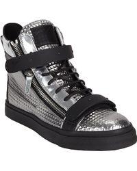 Giuseppe Zanotti Snake Plated-Strap Double-Zip Sneakers - Lyst