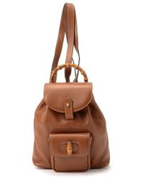 Gucci Preowned Brown Leather Bamboo Detail Backpack - Lyst