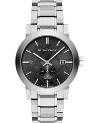 Burberry Check Stamped Stainless Steel Watch silver - Lyst