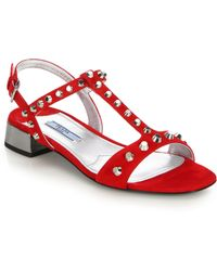 Prada Studded Suede Sandals red - Lyst