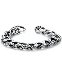 "Palmbeach Jewelry - Men's Snake Design Curb-link Bracelet In Stainless Steel 8 1/2"" Length - Lyst"