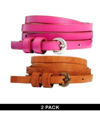Asos 2 Pack Tanpink Super Skinny High Waist Belt - Lyst