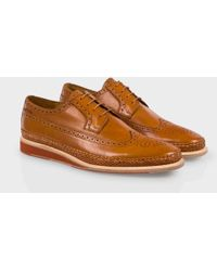 Paul Smith Tan Calf Leather 'Kordan' Brogues With Woven Trims brown - Lyst