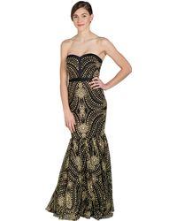 Badgley Mischka Caviar Bead Strapless Evening Gown black - Lyst