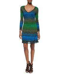 M Missoni V Neck Degraded Ripple Knit Dress - Lyst