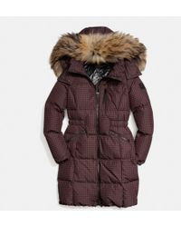 Coach Gingham Check Long Down Coat with Fur Trim - Lyst