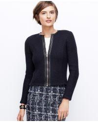 Ann Taylor Faux Leather Trim Sweater Jacket - Lyst