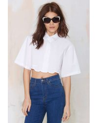 Nasty Gal Ball Boy Crop Blouse - Lyst
