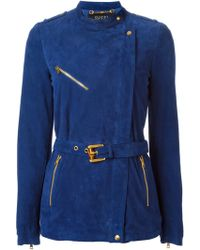 Gucci Blue Belted Jacket - Lyst