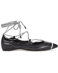 Daniele Michetti - Black Lace-Up Pointed Leather Flats - Lyst