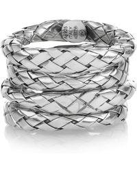 Bottega Veneta Set Of Four Intrecciato Sterling Silver Rings - Lyst