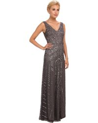 Adrianna Papell Long Vneck Beaded Gown - Lyst