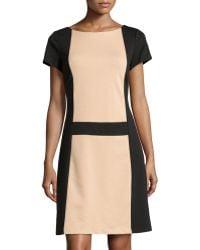 BCBGMAXAZRIA Colorblock Shortsleeve Dress - Lyst