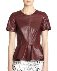 McQ by Alexander McQueen Leather Peplum Top - Lyst