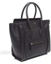 Celine Pre-Owned Pebbled Leather Micro Luggage Tote - Lyst