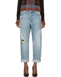 McQ by Alexander McQueen Distressed Indigo Patched Boyfriend Jeans - Lyst