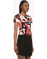 DSquared2 Red and White Knotted Graphic Blouse - Lyst