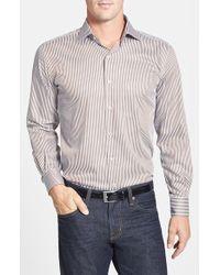 Peter Millar Regular Fit Stripe Italian Cotton Sport Shirt - Lyst