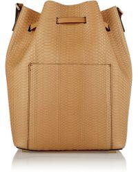 Michael Kors Miranda Large Leather-trimmed Python Bucket Bag - Lyst
