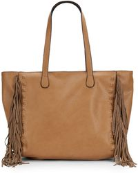 Saks Fifth Avenue Fringed Nappa Leather Tote - Lyst