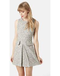 Topshop Boucle-Knit Shift Dress gray - Lyst