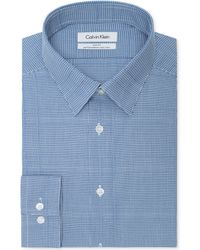 Calvin Klein Steel Non-iron Slim-fit Ultra Blue Checked Performance Dress Shirt - Lyst