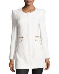Raison D'etre - Lady Textured Knit Faux-Leather Trimmed Coat - Lyst