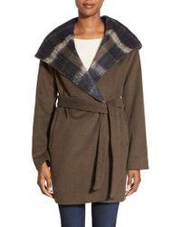 Vera Wang - 'vivian' Plaid Trim Hooded Wool Blend Wrap Coat - Lyst