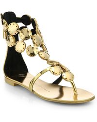 Giuseppe Zanotti Metal Paillette Metallic Leather Sandals - Lyst