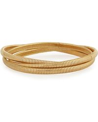 R.j. Graziano - Golden Interlocking Bangle Bracelet - Lyst