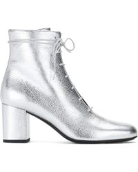 Saint Laurent Metallic Leather Ankle Boots - Lyst
