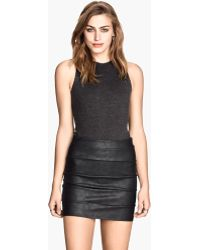 H&M Imitation Leather Skirt - Lyst