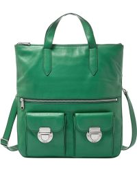Fossil Riley Leather Foldover Tote green - Lyst