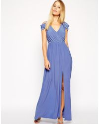 Asos Wrap Front Maxi Dress - Lyst