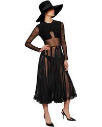 Barbara Casasola Silk Chiffon And Viscose Cady Dress - Lyst
