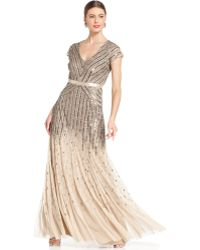 Adrianna Papell Capsleeve Beaded Sequined Gown - Lyst