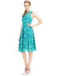 Lela Rose   Floral Guipure Lace Full Skirt Dress   Lyst