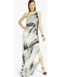 Halston One Shoulder Printed Gown black - Lyst