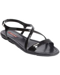 Prada Sport Black Leather Cross Strap Open Toe Sandals - Lyst