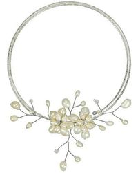 Aeravida - White Pearl Floral Ray Choker Wire Wrap Necklace - Lyst