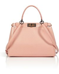 Fendi Leather Peekaboo Satchel with Shoulder Strap in Milkpink - Lyst