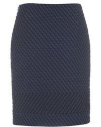 Paul Smith Textured Navy Cotton-Blend Pencil Skirt - Lyst