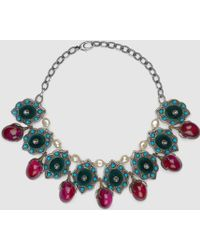 Gucci   Flower Necklace With Velvet   Lyst