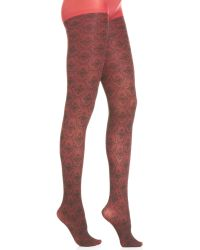 Jessica Simpson Wallpaper Knit Opaque Tights - Lyst