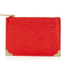 Topshop Croc Leather Coin Purse - Lyst
