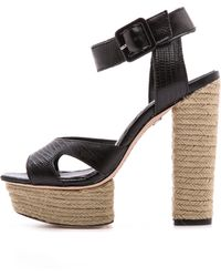 Alice + Olivia Alice + Olivia Tori Ankle Strap Sandals - Black/Natural - Lyst