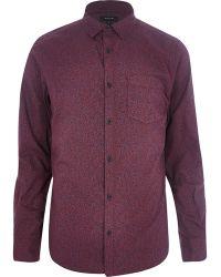 River Island Burdungy Ditsy Print Long Sleeve Shirt - Lyst