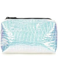 Topshop Iridescent Croc Make-up Bag - Lyst